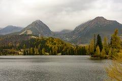 Autumn on the lake Strbske Pleso. Tatra Mountains Slovakia. royalty free stock images