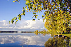 Autumn lake sunny landscape in evening Stock Photo