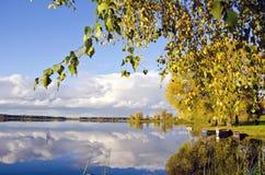 Autumn Lake Sunny Landscape In Evening Stock Photo