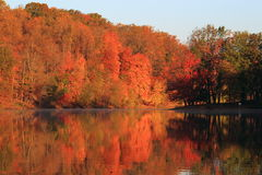 Autumn Lake. On sunny morning, Lake Needwood in Rock Creek Regional Park, Maryland Royalty Free Stock Image