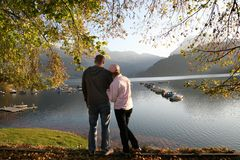 At the autumn lake together 2 Royalty Free Stock Images