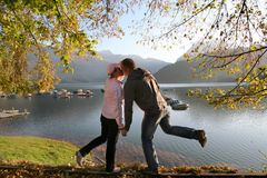 At the autumn lake together 3 Royalty Free Stock Images