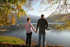 At the autumn lake together 4 royalty free stock photos