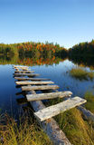 Autumn lake vertical. Beautiful seasonal landscape: old wooden pier on a calm lake in the fall Stock Image
