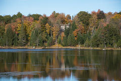 Autumn, lake view and camping in Quebec, Canada Stock Photo