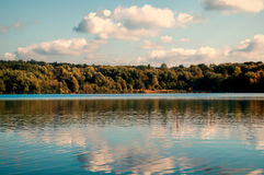 Autumn Lake. Walking inside the Forest in Nordrhein - Westfalen Germany. Lake! Fall Sun, Clouds Royalty Free Stock Image