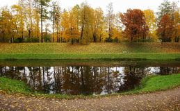 lake water reflection park trees outdoor autumn nature Stock Photography