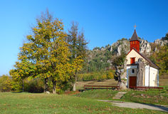 Autumn landcape with chapel Stock Photo