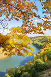 Autumn landscape. Autumn. The river flows among wood against the blue sky Stock Photo