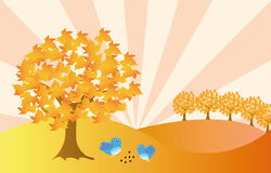 Autumn landscape. Beatyfull autumn landscape with two blue birds Royalty Free Stock Photo