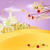 Autumn landscape. With small town and apples Stock Photo