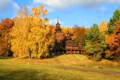 Autumn Landscape. Country Church in Autumn Landscape, beautiful vivid nature Stock Photos