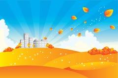 Autumn landscape. Vector illustrated cartoon autumn landscape Stock Photography