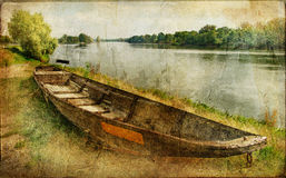 Autumn landscape. Pictorial autumn scene with old boat - artwork in painting style vector illustration