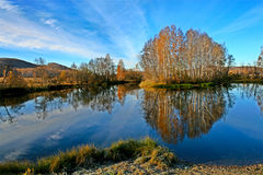 Autumn landscape. Autumn landscape by the lake. Beautiful reflection in the water Stock Photography