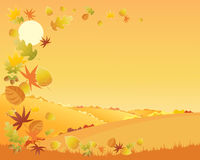 Autumn landscape. An illustration of a colorful autumn landscape with hedgerows and patchwork fields and a swirl of falling leaves under an orange sky Royalty Free Stock Image