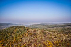Autumn landscape. The mountain autumn landscape with colorful forest Royalty Free Stock Images