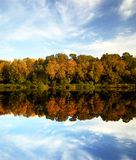 Autumn landscape. Autumn scenery - colorful trees reflection Stock Photography