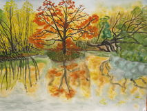 Autumn landscape. Photocopy of my own picture, watercolored painting. Autumn landscape, lake and trees Stock Photo