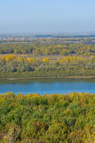 Autumn landscape. Panoramic view on the river Belaya, Ufa, Bashkortostan Royalty Free Stock Images