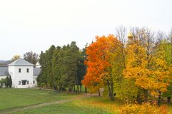Autumn landscape. With red and yellow trees and white building Royalty Free Stock Photo