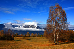 Autumn landscape. A landscape with blue sky, clouds on a mountain and vegetation in autumn stock photos