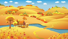 Autumn Landscape. Trees and hills and the river on the plain, vector illustration Royalty Free Stock Photos