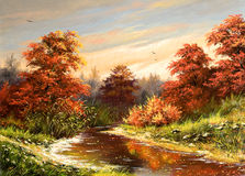 Autumn landscape. With the river Royalty Free Stock Photography