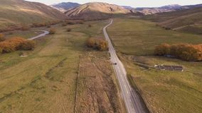 Autumn landscape, aerial footage New Zealand. FHD stock video
