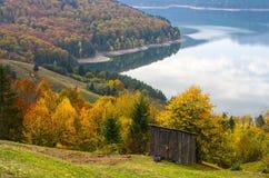 Autumn landscape with alpine hut Stock Images