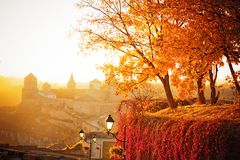 Autumn landscape on the background of the fortress. In evening time Stock Images