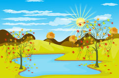 Autumn Landscape background Vector illustration Stock Photography