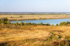 Autumn landscape of bank of river Oka near Konstantinovo village stock photo