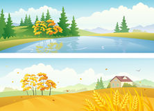 Autumn landscape banners. Illustration of autumn nature landscapes Stock Images