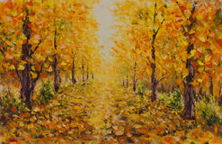 Autumn landscape, beautiful park on painting. Golden autumn. Stock Photography