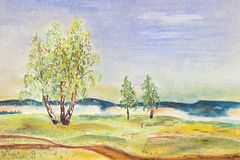 Autumn landscape with birches in the field. Green-yellow birch on a meadow in autumn.A small mountain in the fog. Pastel drawing Stock Photo