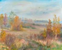 Mellow autumn. Autumn landscape with birches. September Stock Image