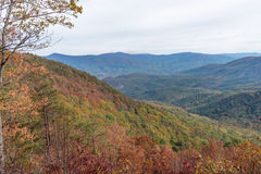 Autumn landscape of the Blue Ridge Appalachian Mountain Range. Autumn landscape of the Blue Ridge Mountains in Appalachia as seen from Fort Mountain in North Royalty Free Stock Photo