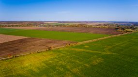 Autumn landscape: blue sky, colorful trees, yellow fields. Aerial view royalty free stock images