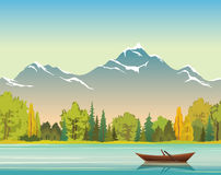 Autumn landscape - boat, lake, forest and mountains. Wild nature. Wild nature illustration. Vector autumn landscape with wooden boat, calm lake, forest and Royalty Free Stock Images
