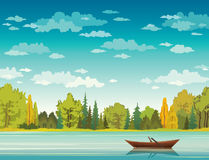 Autumn landscape - boat, lake, forest. Vector autumn landscape with wooden boat, calm blue lake, forest and cloudy sky. Nature illustration Stock Photo