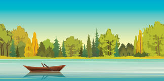 Autumn landscape - boat, lake, forest. Wooden boat with reflection at the calm lake and green forest on a blue sky background. Vector autumn landscape. Nature Royalty Free Stock Images