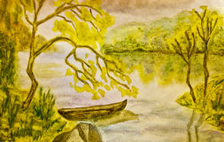 Autumn landscape with boat, painting Stock Photos