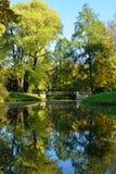 Autumn landscape with bridge in  Pushkin, Royalty Free Stock Photos