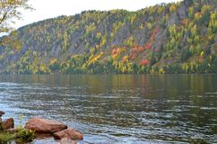 Autumn landscape with bright colors on the river Bank stock photo