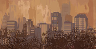 Autumn landscape in brown colors, city skyline Royalty Free Stock Photo