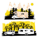 Autumn landscape with camper van, motorhome. Family trip. Drawin Stock Photos