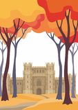 Autumn landscape with castle Royalty Free Stock Images