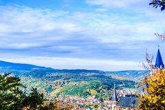 Autumn landscape with castle of Wernigerode in Germany. View on autumn landscape with castle of Wernigerode in Germany royalty free stock images