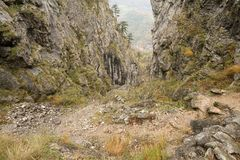 Autumn landscape in Cernei Mountains, the gorge of Tesna Royalty Free Stock Photo